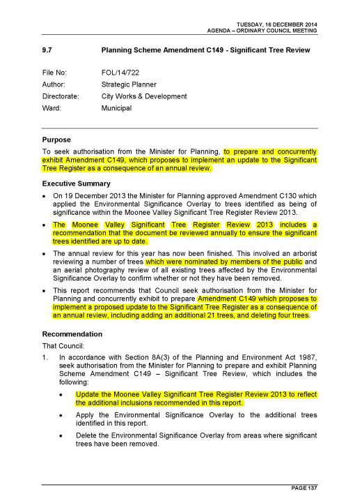 Pages from Agenda  Ordinary Meeting of Council to be held 16 December 2014