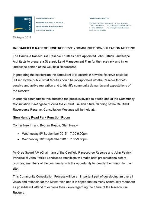15-353 PR -Community Consultation Caulfield Racecourse