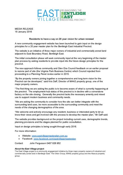 Media Statement - Community engagement launch January 180116